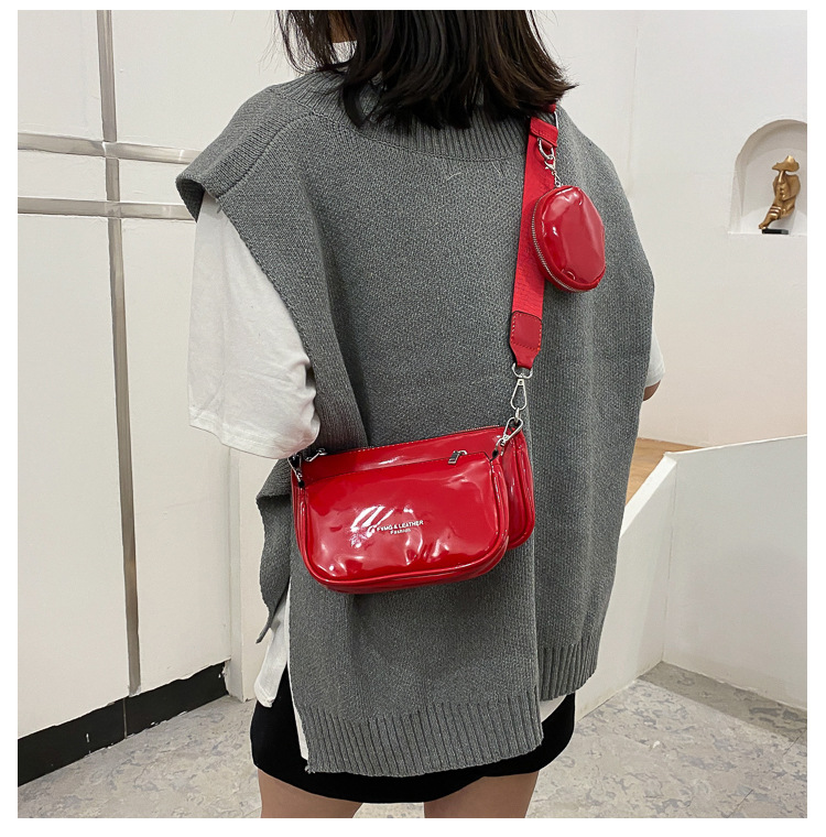 Patent leather retro small square bag  NHLH311841