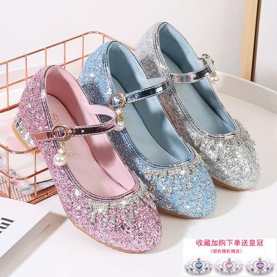 Kids host singers performance shoes Girls board shoes children's high heels Diamond Princess Shoes Sequin pearl button dance shoes
