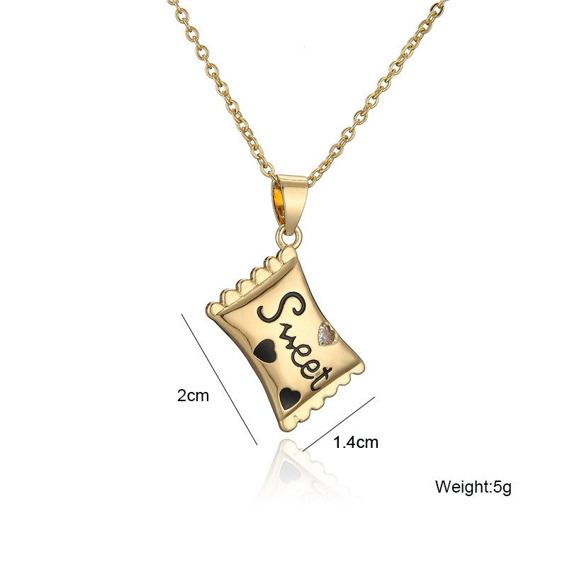 simple lettering candy pendant dripping oil copper necklace  NHFMO368001