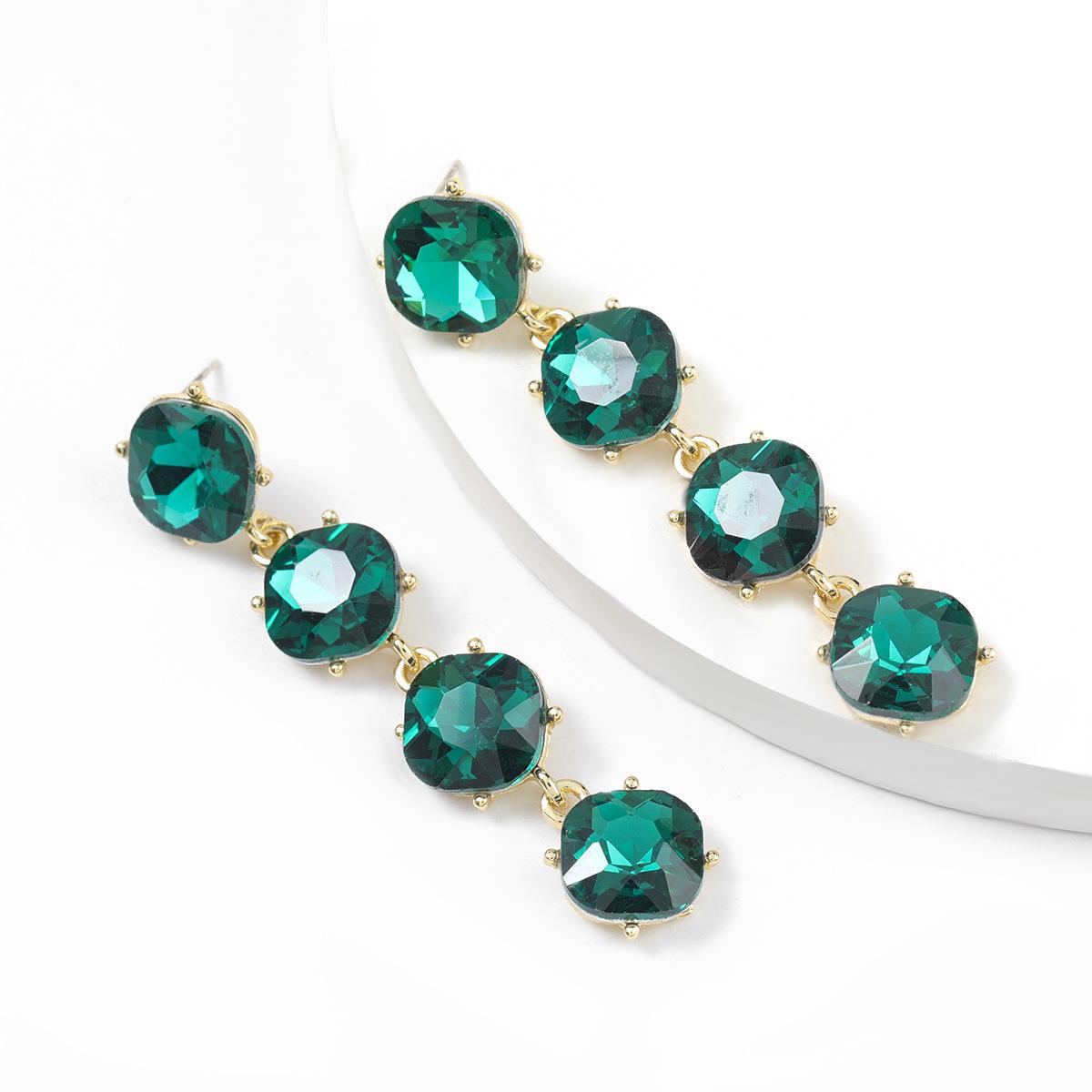 simple alloy diamond multilayer round long earrings  NHJE311638