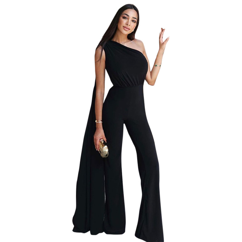 solid color long-sleeved one-shoulder pleated jumpsuit nihaostyles clothing wholesale NSMG81148