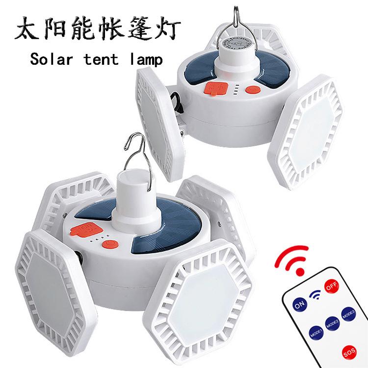 LED三面球泡灯户外帐篷灯太阳能充电夜市灯泡 室内手提应急照明灯