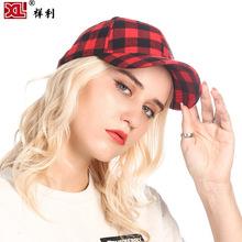 现货欧美爆款棉质黑红格子鸭舌帽 时尚棒球帽外贸棒球帽 mlb帽子