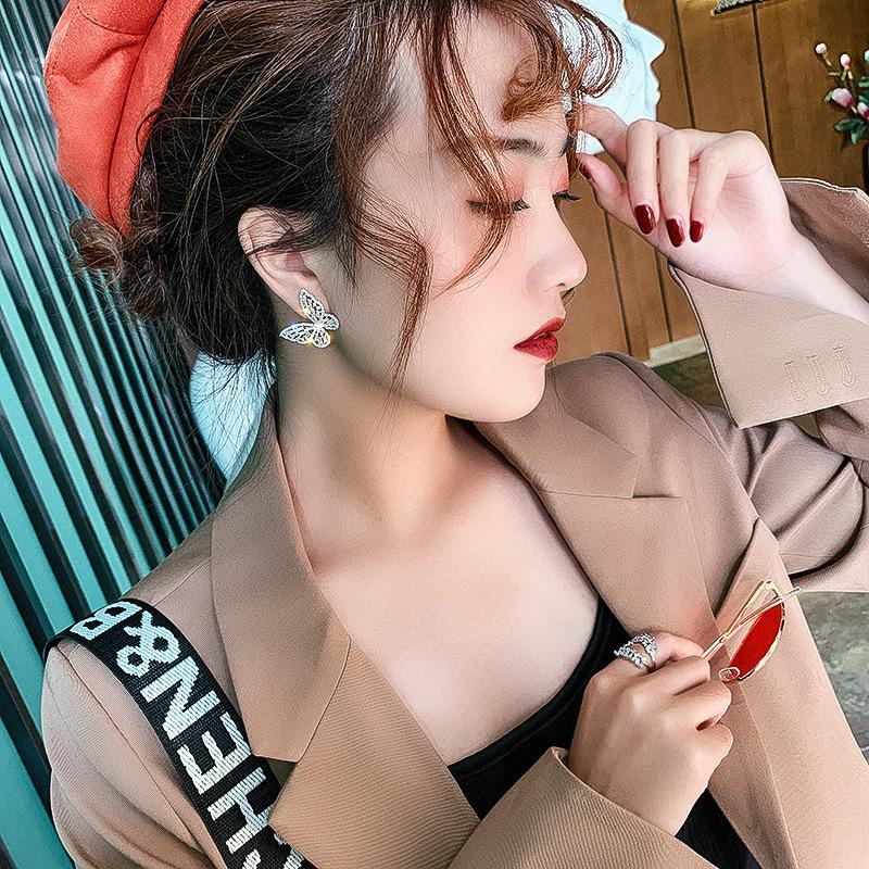 Korean butterfly zircon earrings  NHNJ321460