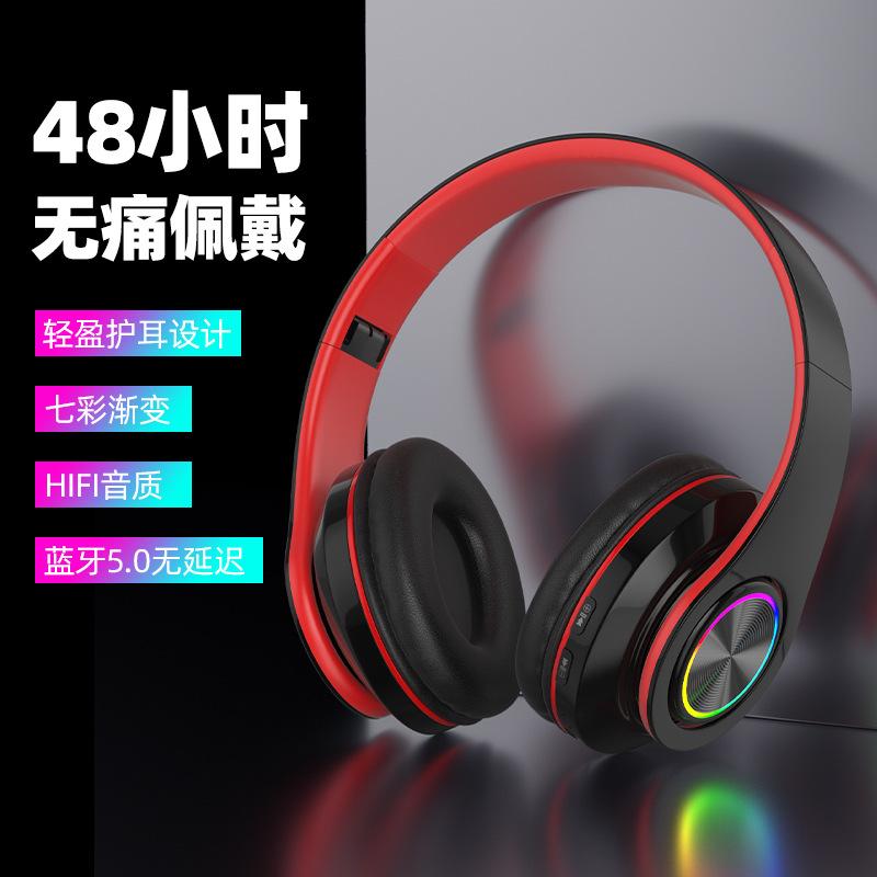 爆款头载式无线蓝牙耳机5.0 可折叠插卡伸缩厂家直销通用运动耳机