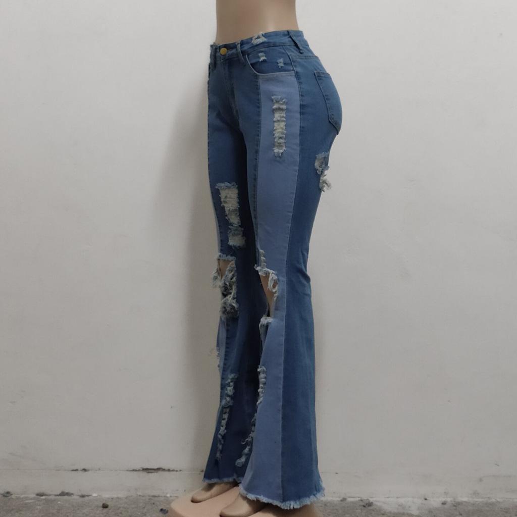 wholesale women s clothing Nihaostyles stitching washed denim stretch slim flared pants NSSF66898