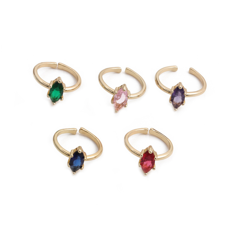 simple strip copper goldplated multicolor crystal open ring NHYL364375