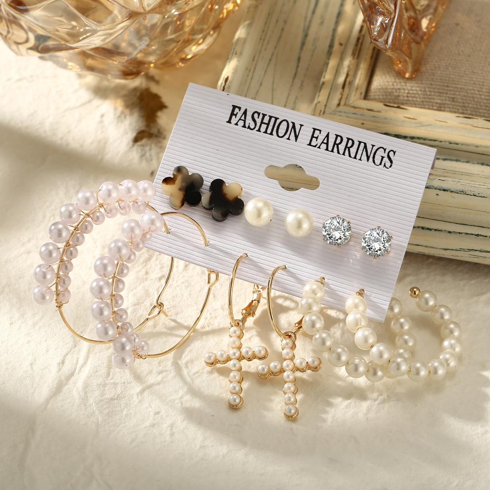 simple retro acrylic pearl geometric earrings set 6 pairs NHPJ355349