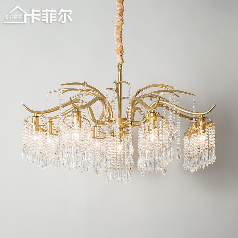 美式客厅吊灯餐厅灯乡村创意艺术枝形个性轻奢灯具卧室法式水晶灯