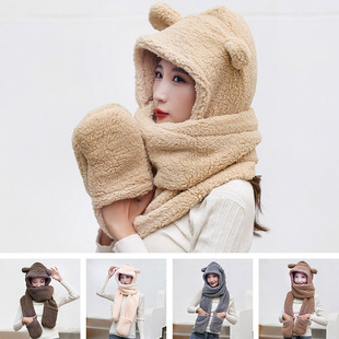 Winter bear ear protection hat scarf gloves one female autumn and winter cute hooded plush warm Korean version of the tide