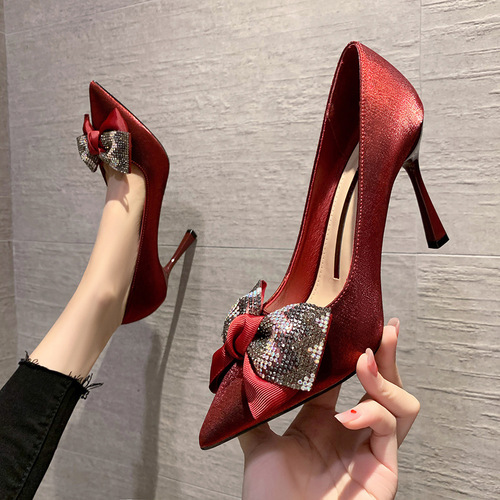 8777-3 in Europe and the sexy pointed high-heeled shoes sexy show thin silk bowknot web celebrity diamond shoes women's shoes
