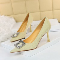 1382-2 the European and American fashion show thin sexy high-heeled shoes high heel with shallow pointed mouth shining diamond buckle women's shoes