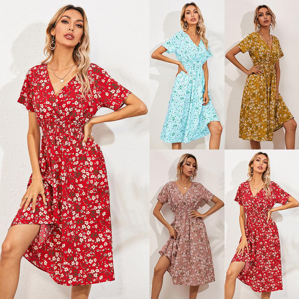 外贸女装欧美欧洲站亚马逊跨境夏季小碎花印花短袖连衣裙