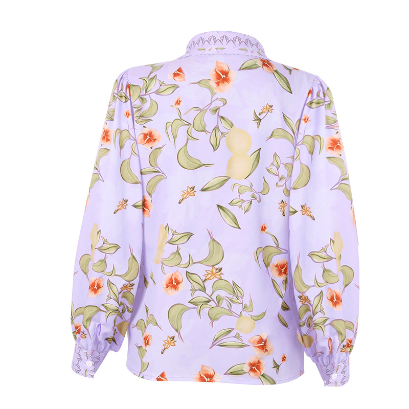 spring and summer new single-breasted casual all-match floral shirt  NSZH27027