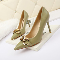 8666-7 han edition fashion pointed shallow mouth show thin metal thin women's shoes with high heels and sexy professional OL for women's shoes