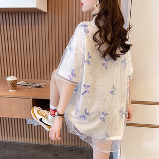 2021 summer new Korean mid-length mesh fake two-piece splicing butterfly short-sleeved t-shirt female ins plus size women's clothing