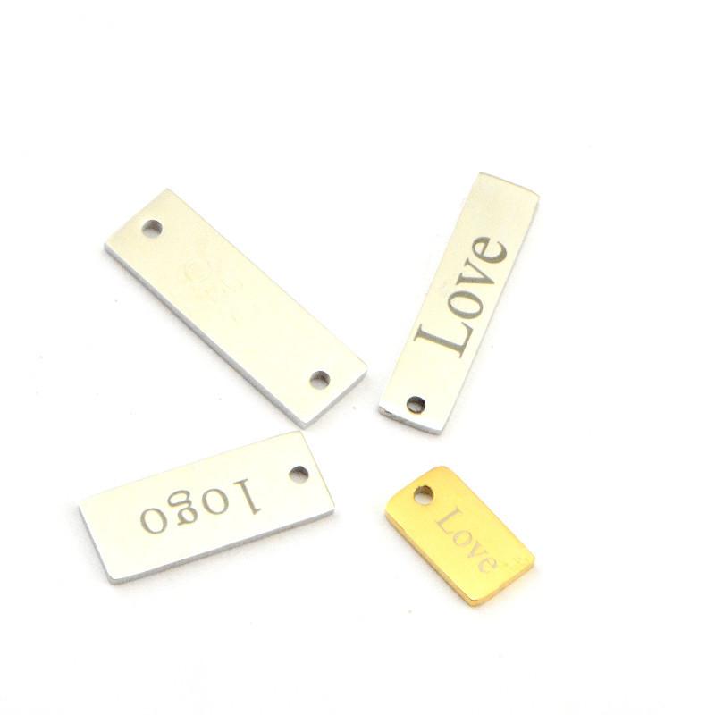 定制不锈钢长方形吊牌 刻字logo 方形长牌手链 项链连接牌