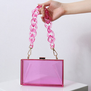 【Explosion】Summer new style acrylic bag female bag chain square box bag cross-border hot sale transparent bag box bag