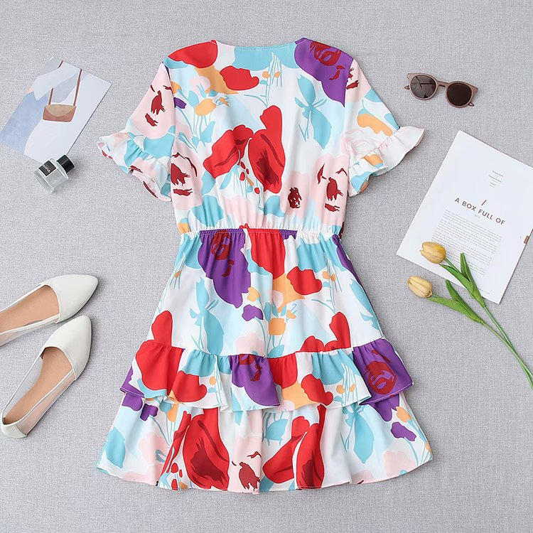 Fashion Color Flower Print Knotted V-neck Dress