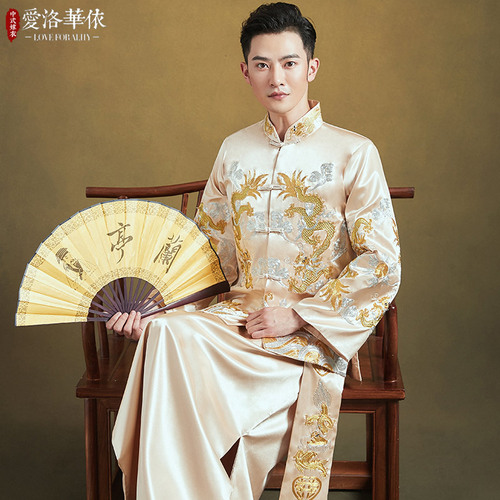 Xiuhe men's chinese wedding dress Chinese groom wedding party toast dress for male Chinese style dragon Tang suit for men