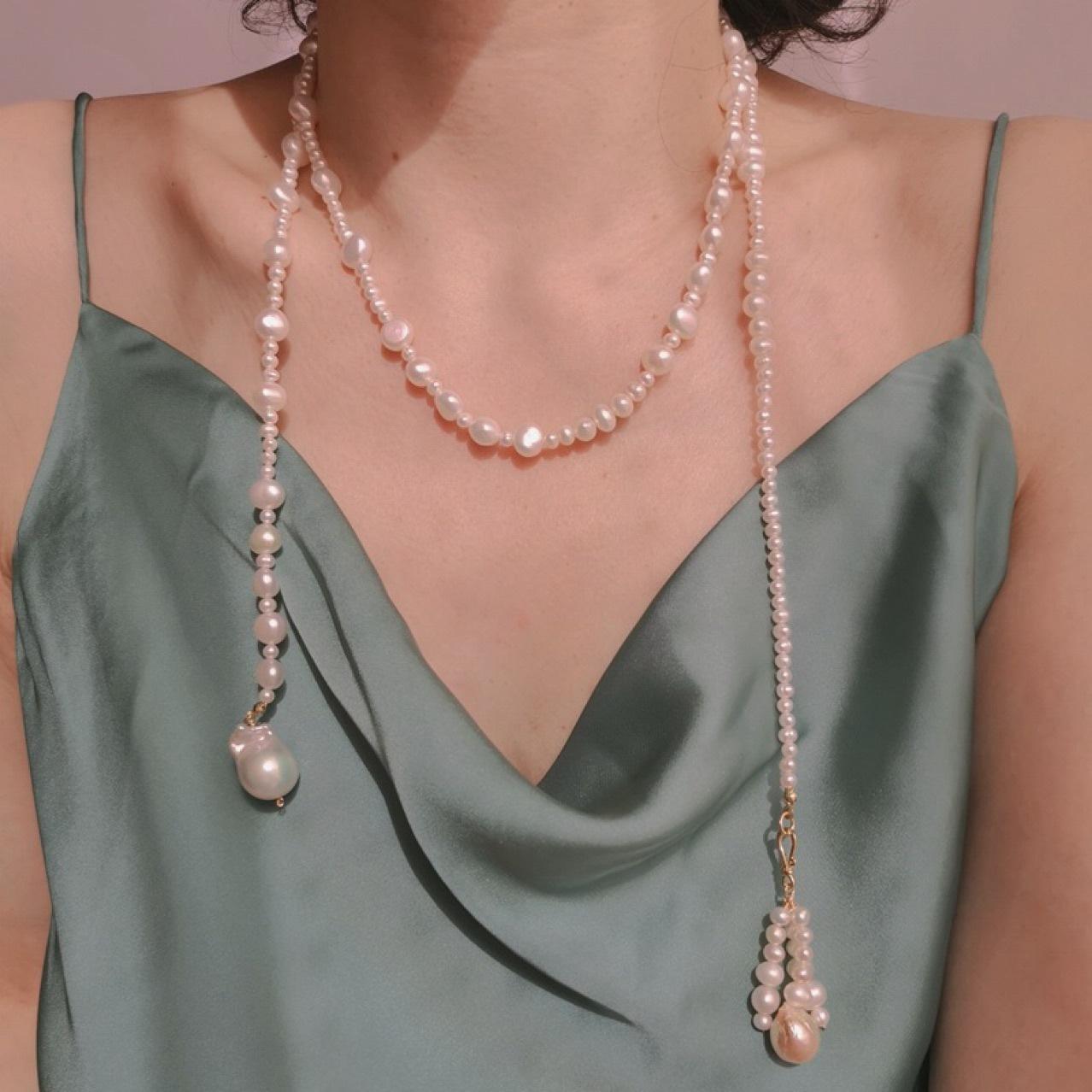 simple irregular natural pearl long multilayer necklace  NHANR372352