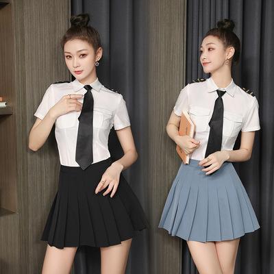 KTV foot bath technician work clothes women pleated skirt uniform set health club night students