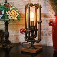美式工业风创意台灯复古爱迪生灯泡水管灯