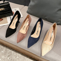 The new 528-1 point light mouth fine suede with fashion shoes with the four seasons in the sexy women's high-heeled shoes wholesale shoes