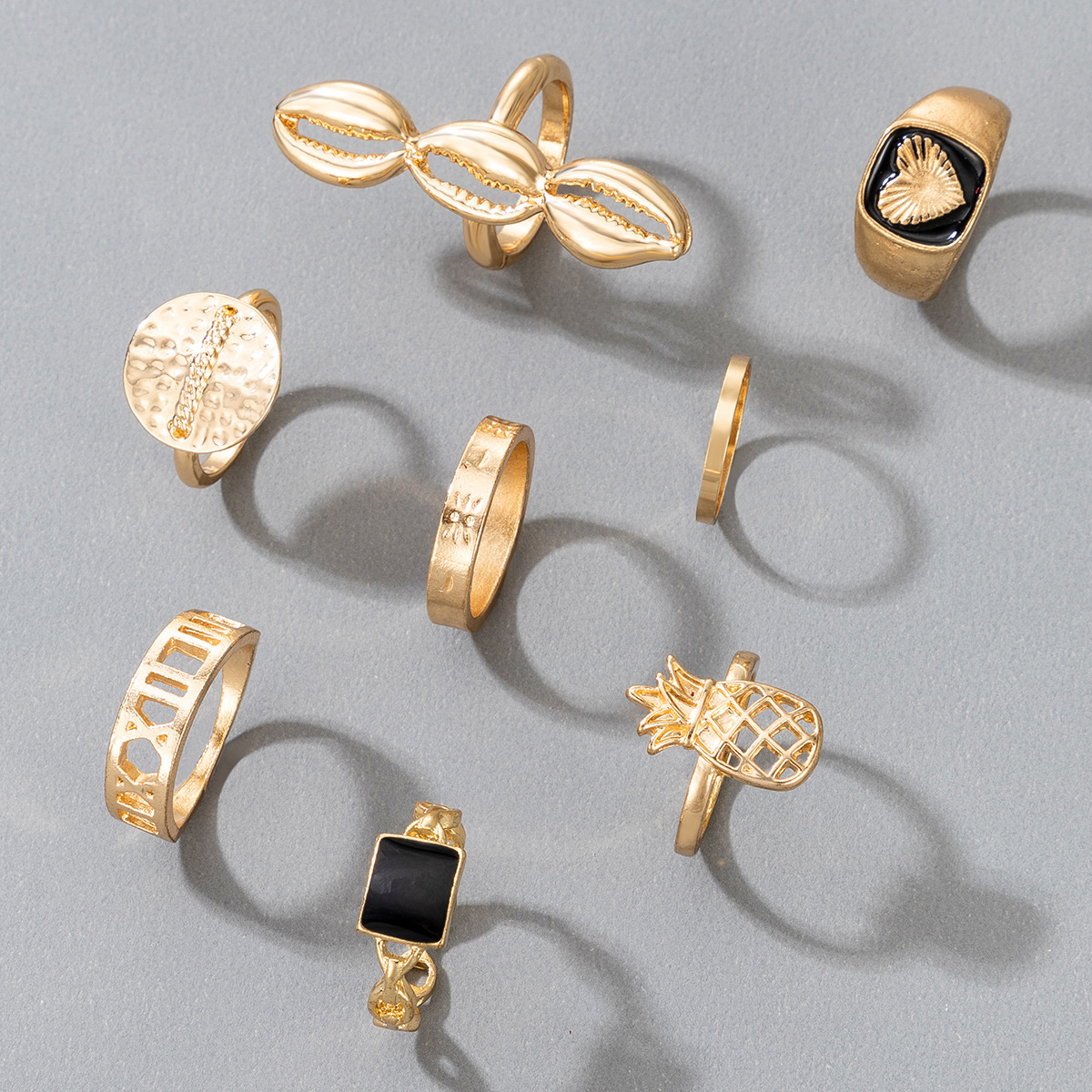 fashion exaggerated black oil dripping love pineapple shell geometric ring 8piece set NHGY303500