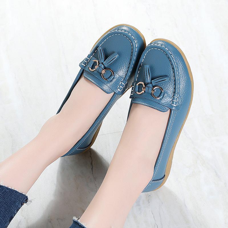 2021春季新款皮鞋中老年妈妈鞋女单鞋豆豆鞋女真软底坡跟