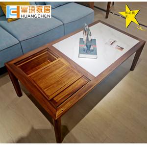 皇琛北美黑胡桃木岩板茶几面茶桌现代意式极简客厅家具厅柜电视柜