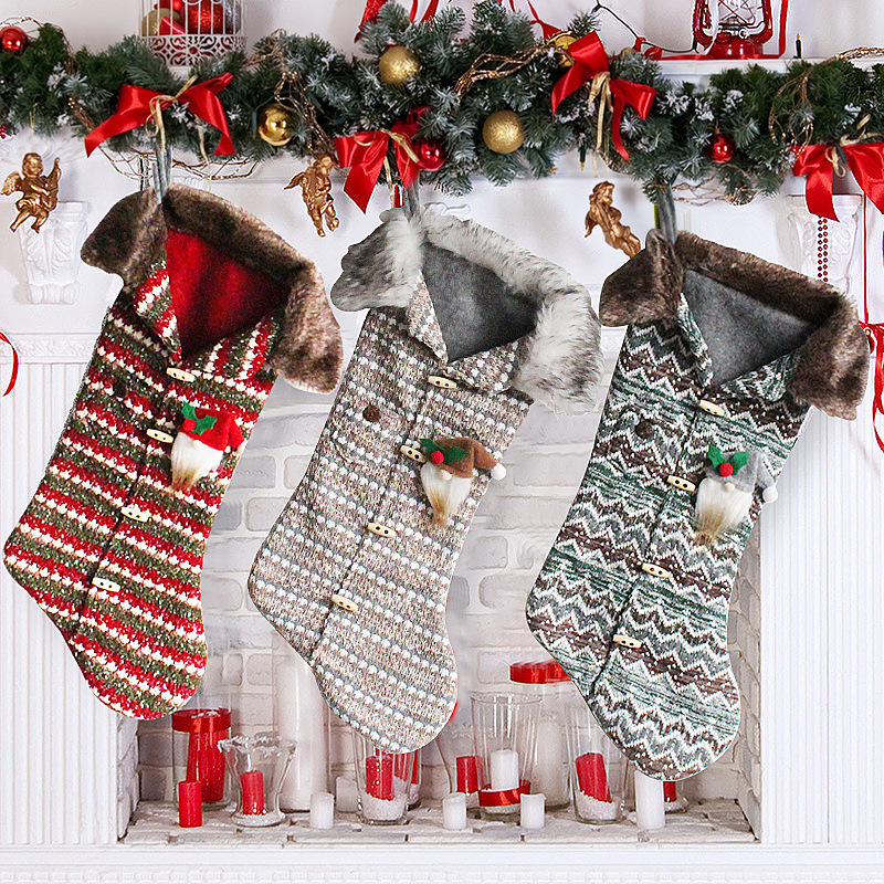 57cm Plus Knitted Candy Bag Christmas Tree Ornaments Socks Christmas Stocking, Christmas Gift Socks