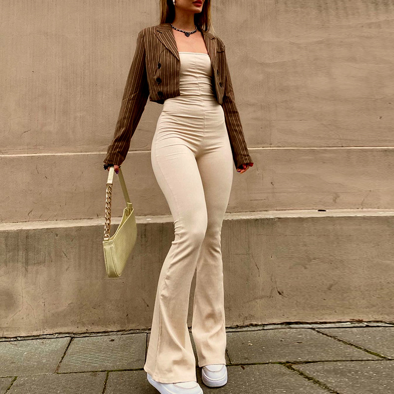 autumn women s solid color sleeveless lace-up backless jumpsuit nihaostyles wholesale clothing NSSWF80098
