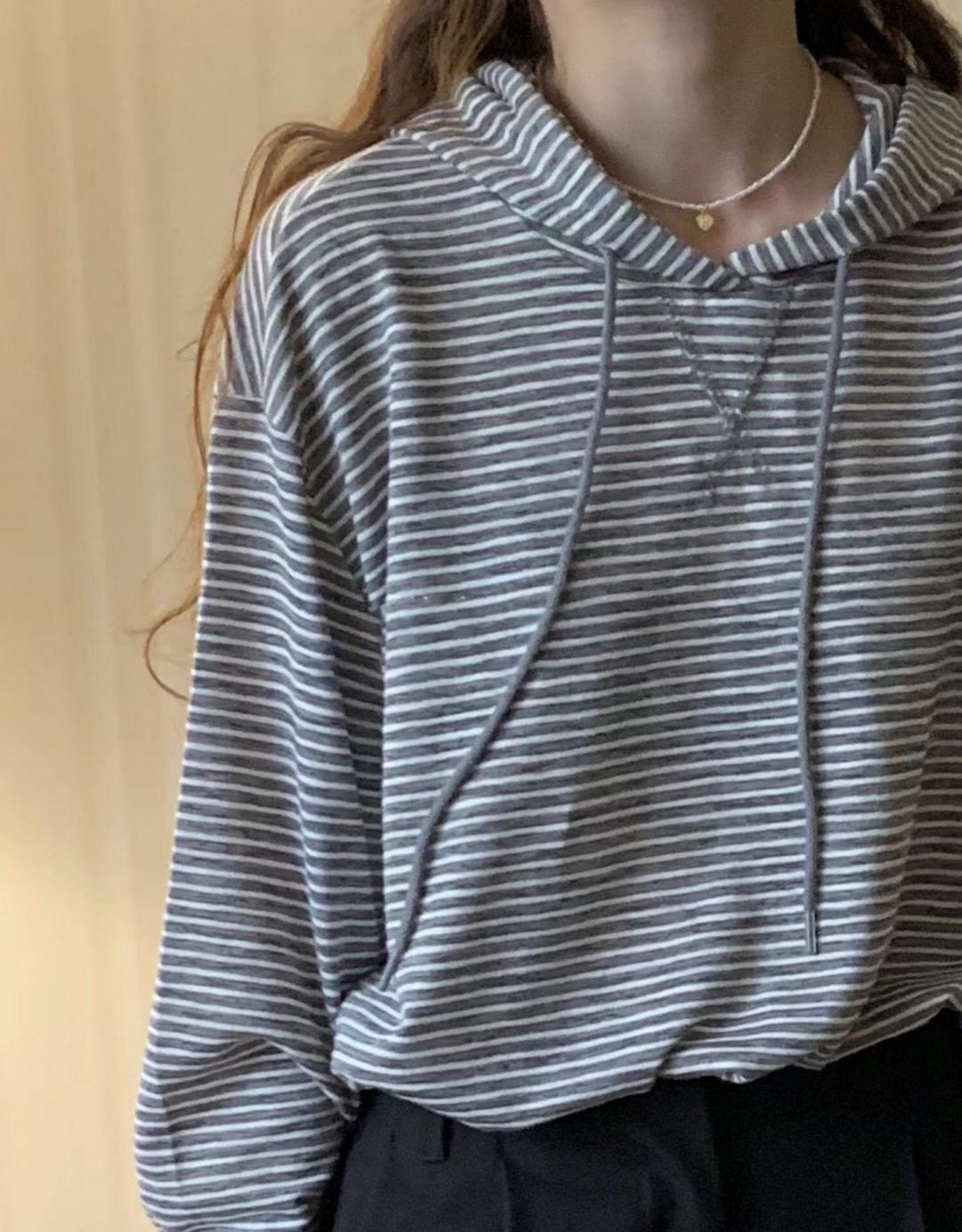 【现货】韩国东大门self/sercive连帽抽绳条纹防晒长袖T恤