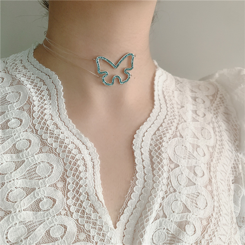 Invisible fishing line full diamond butterfly necklace  NHYQ331449