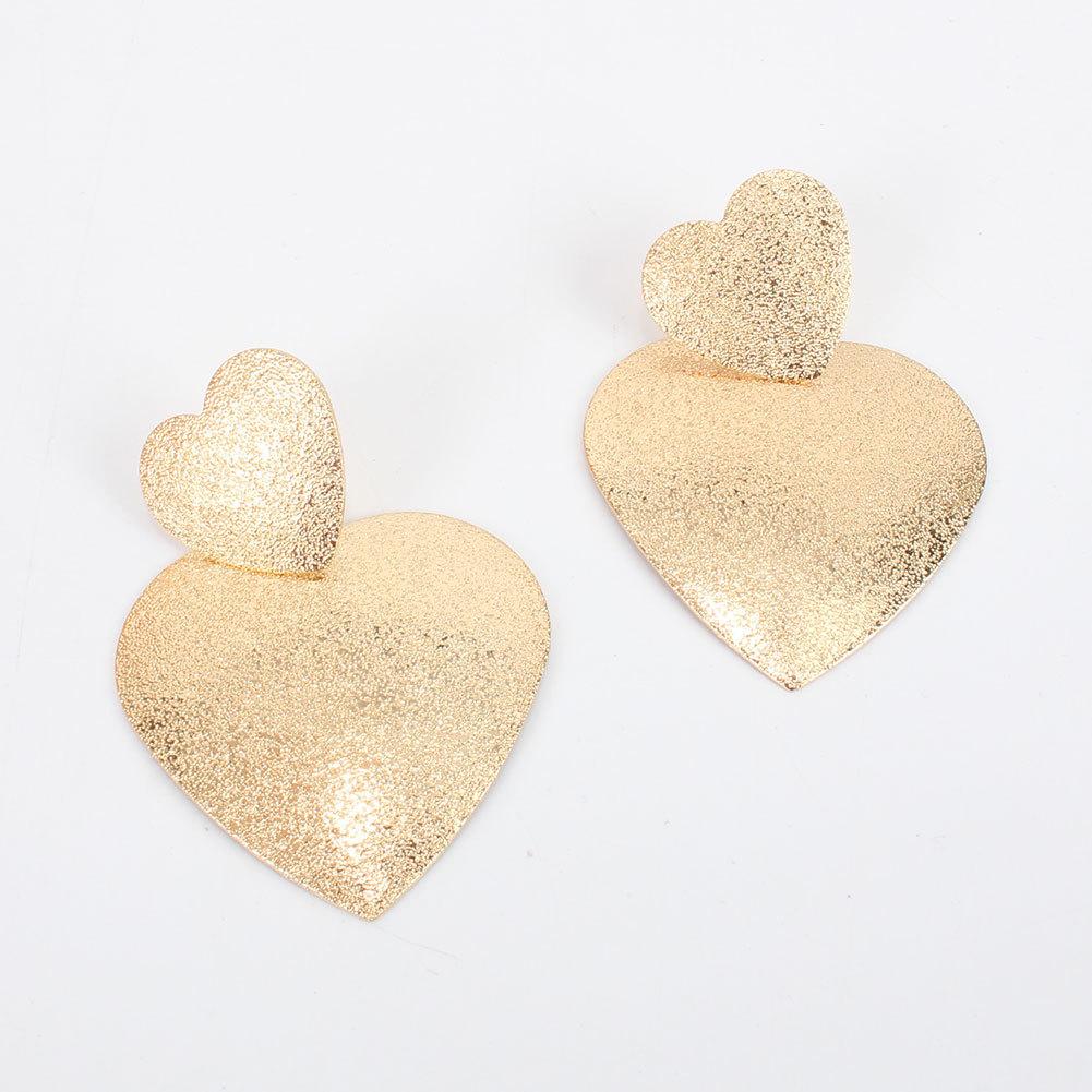 Simple alloy geometric heart earrings NHCT324800