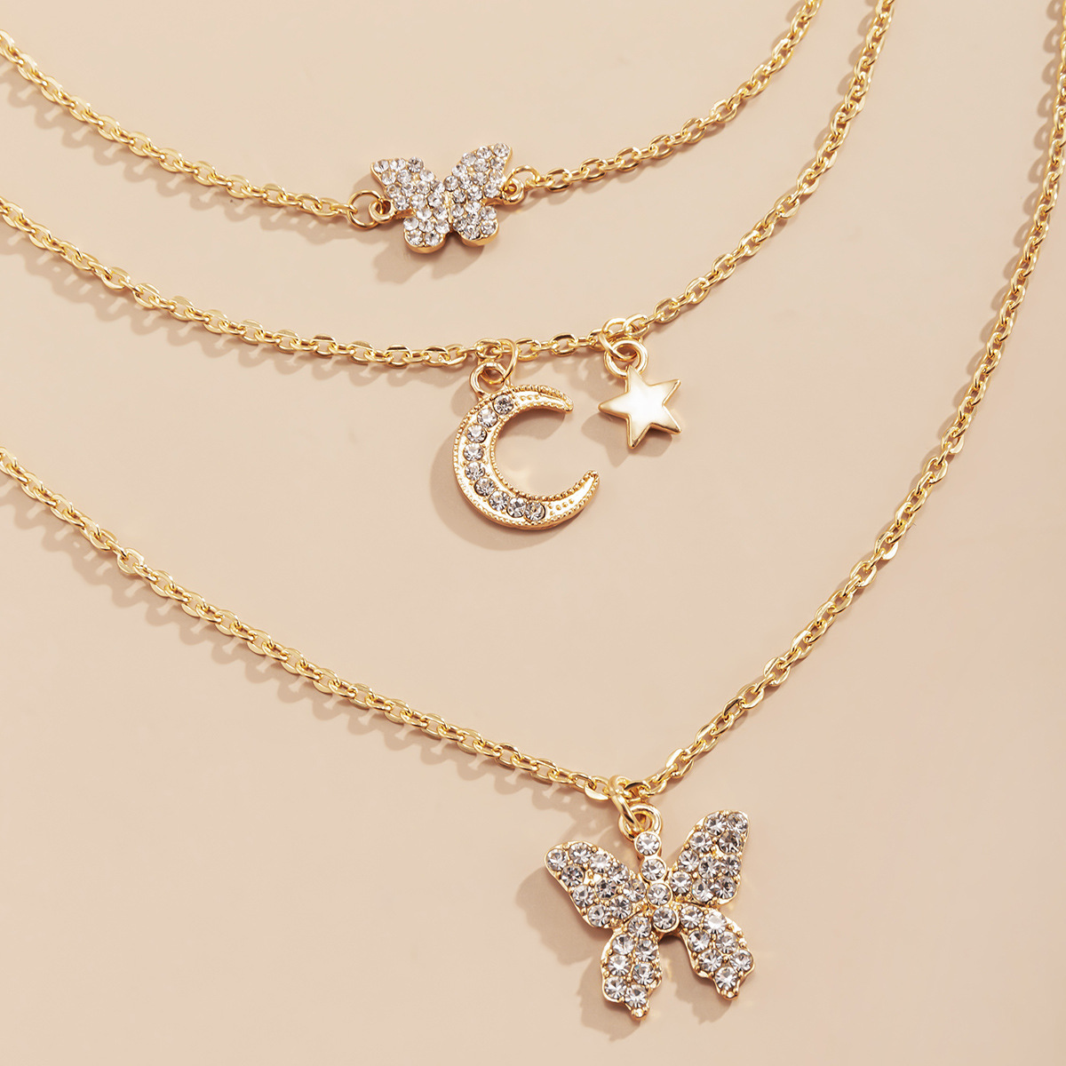 simple multilayer microinlaid threedimensional butterfly star and moon necklace NHXR345013