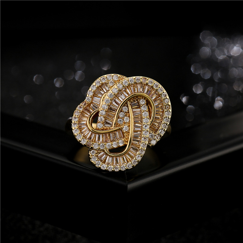simple geometric winding copper microinlaid zircon open ring NHFMO368031