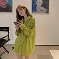 实拍长袖衬衫女2021春季设计感上衣复古宽松显瘦盐系衬衣潮j2550
