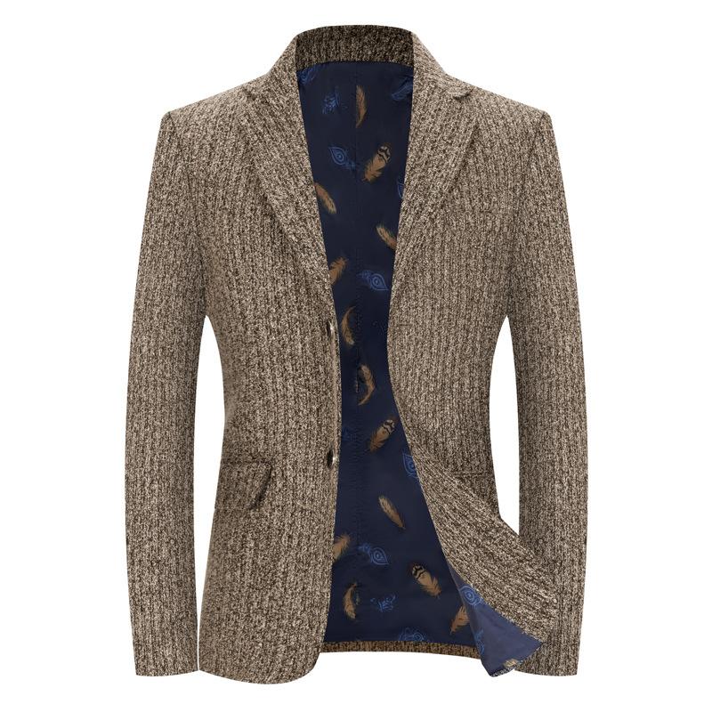 外贸出口厂价直销2021春款两色竖条纹休闲小西服青年男士时尚帅气