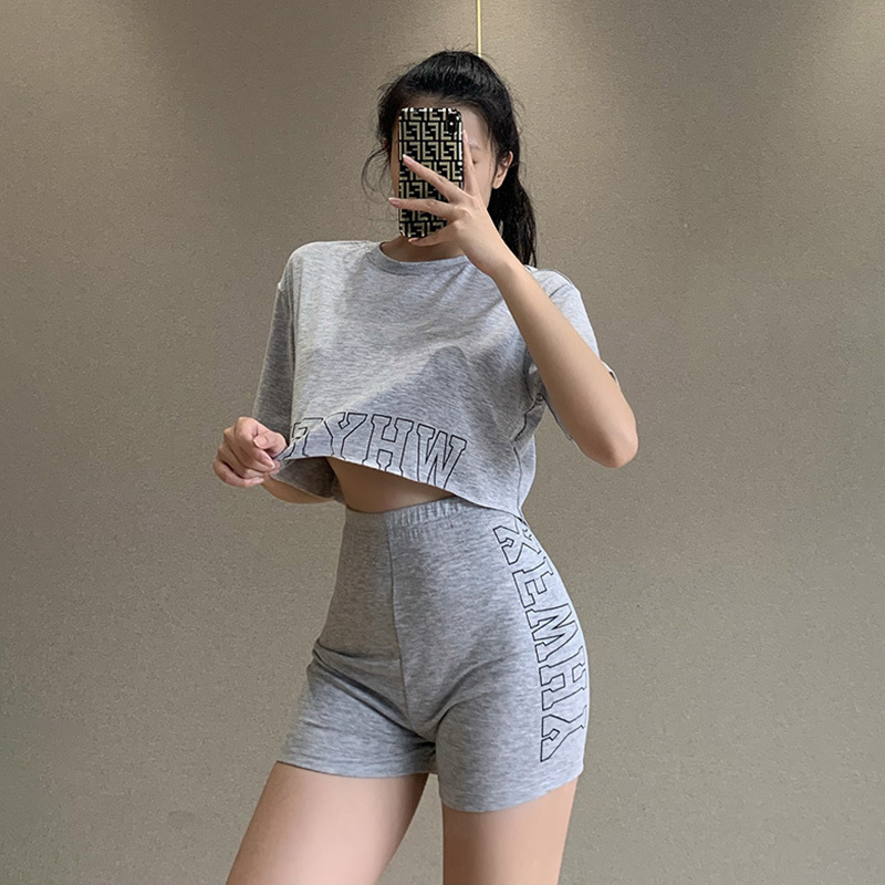 Casual Letter Embroidered Loose Top & Shorts Set NSFLY58309