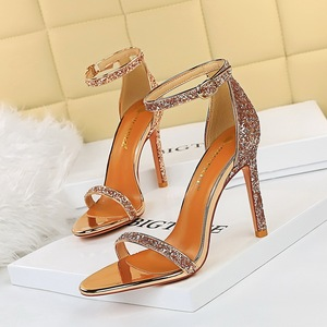 829-3 the European and American fashion sexy club summer high heels with ultra fine words with sandals with shining sequ