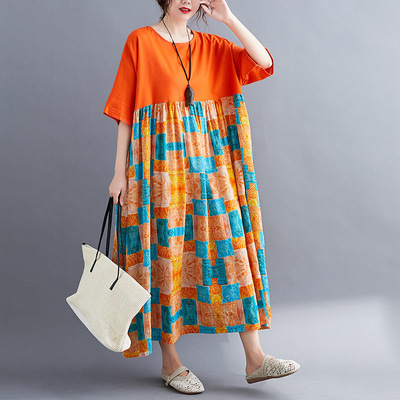 Women Summer Plus size Dresses: short sleeve dress with fat and big swing