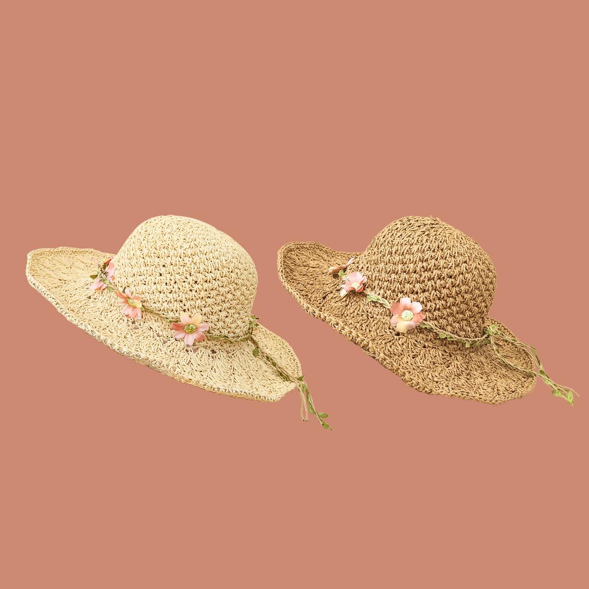 Fashion flower wide brimmed sunshade sunscreen straw hat NHAMD335939