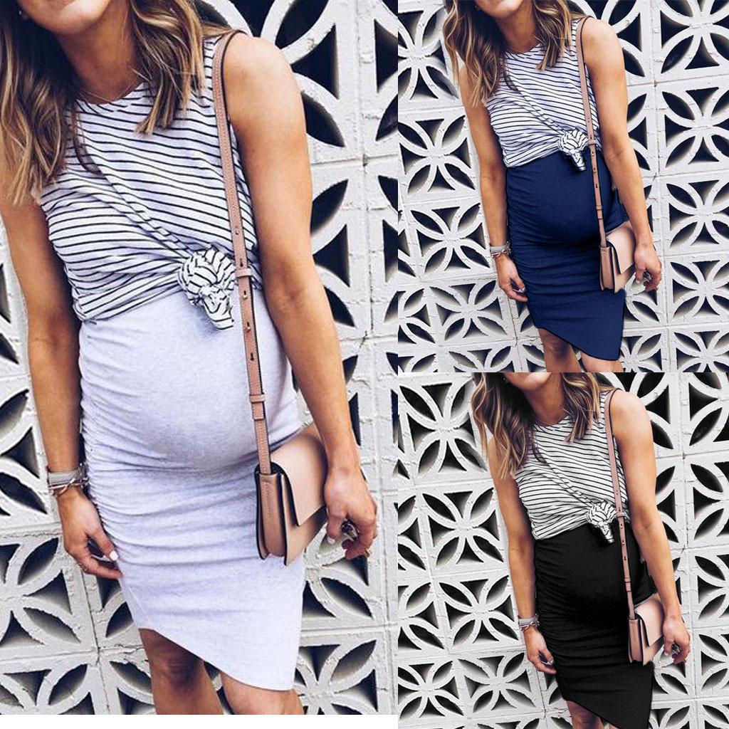 女装 2021新款春季亚马逊条纹无袖不规则假两件 连衣裙 孕妇装