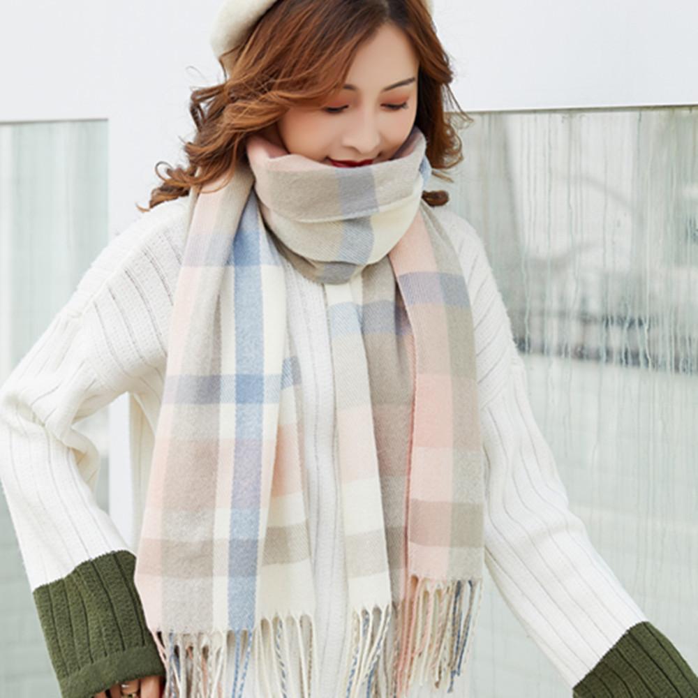 格子围巾女士秋冬季拼色针织保暖定制仿羊绒披肩欧美加厚围脖批发