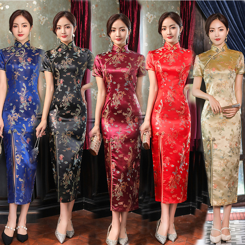 Chinese dresses for women oriental retro qipao dresses host singers stage performance miss etiquette Cheongsam short-sleeved long brocade Chinese style long dresses
