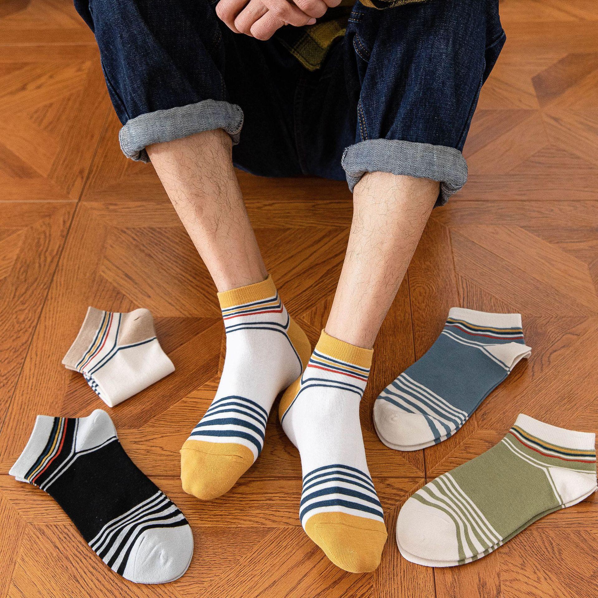 青少年袜子男春夏薄款清新条纹短袜ins潮搭韩版日系学生男士船袜