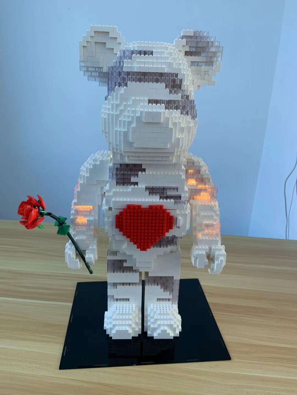 爱心暴力熊摆件兼容乐高MOC摆件手办001-1成人大颗粒拼装积木玩具