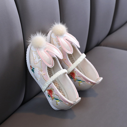 Chinese Hanfu fairy dress embroidered shoes for girls Old Beijing Handmade clothing shoes children chinese folk dance shoes film drama princess cosplay shoes